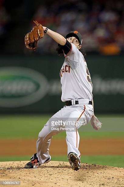 Starting pitcher Tim Lincecum of the San Francisco Giants pitches against the Texas Rangers in Game Five of the 2010 MLB World Series at Rangers...