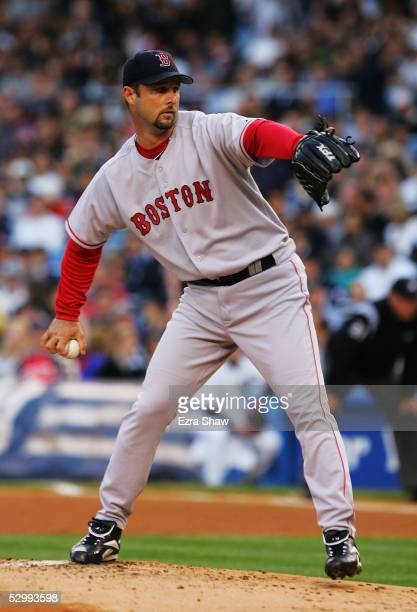 Starting pitcher Tim Wakefield of the Boston Red Sox delivers the ball in the first inning of the game against the New York Yankees at Yankee Stadium...