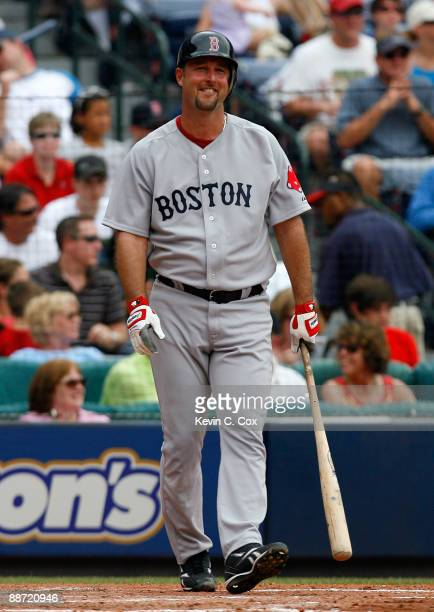 Starting pitcher Tim Wakefield of the Boston Red Sox reacts after taking a strike against the Atlanta Braves at Turner Field on June 27 2009 in...
