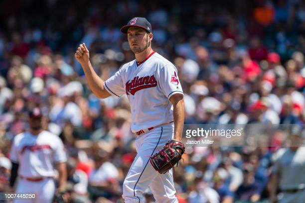 Starting pitcher Trevor Bauer of the Cleveland Indians pitches during the first inning against the New York Yankees at Progressive Field on July 15...