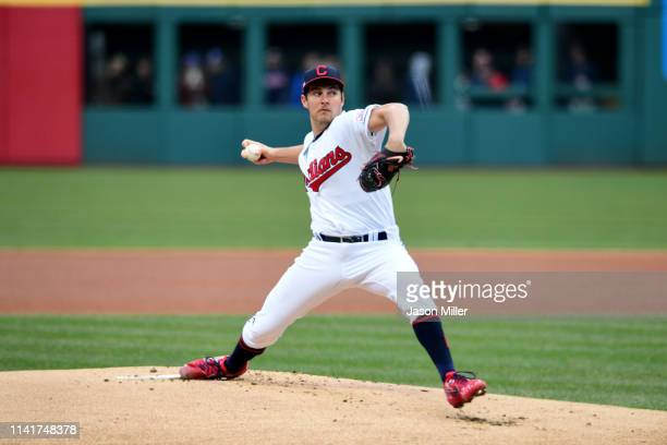 Starting pitcher Trevor Bauer of the Cleveland Indians pitches during the first inning against the Toronto Blue Jays at Progressive Field on April 04...