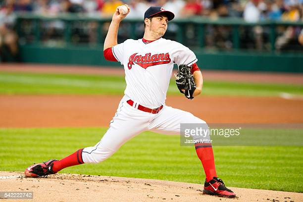 Starting pitcher Trevor Bauer of the Cleveland Indians pitches during the first inning against the Tampa Bay Rays at Progressive Field on June 22...