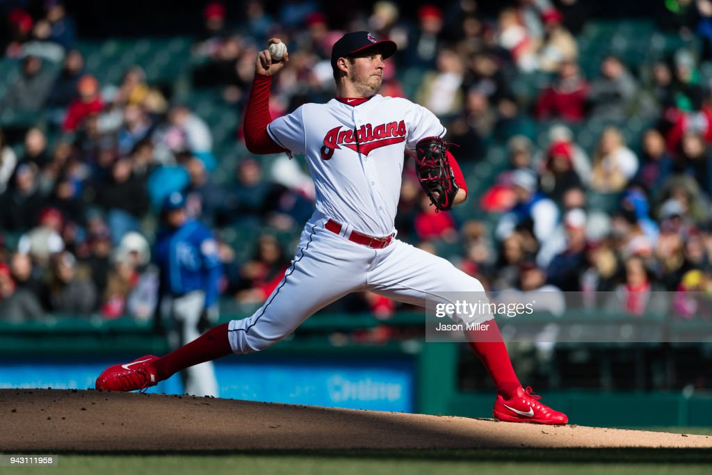 Starting pitcher Trevor Bauer #47 of the Cleveland Indians pitches during the first inning against the Kansas City Royals at Progressive Field on April 7, 2018 in Cleveland, Ohio.