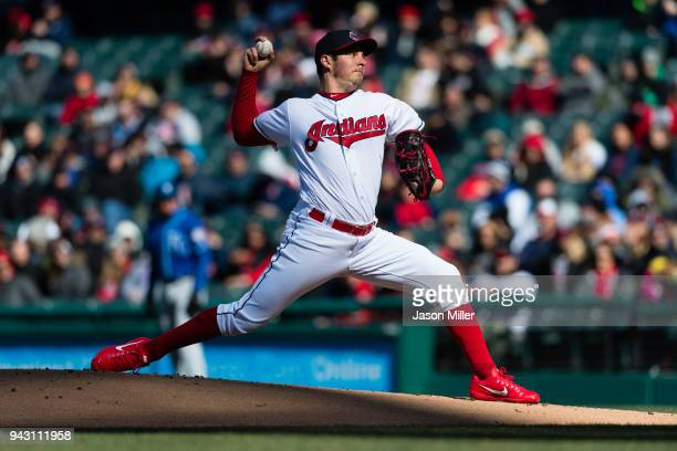 Starting pitcher Trevor Bauer of the Cleveland Indians pitches during the first inning against the Kansas City Royals at Progressive Field on April 7...
