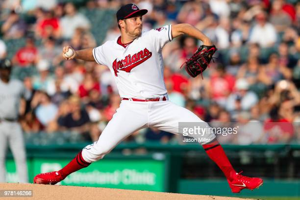 Starting pitcher Trevor Bauer of the Cleveland Indians pitches during the first inning against the Chicago White Sox at Progressive Field on June 18...