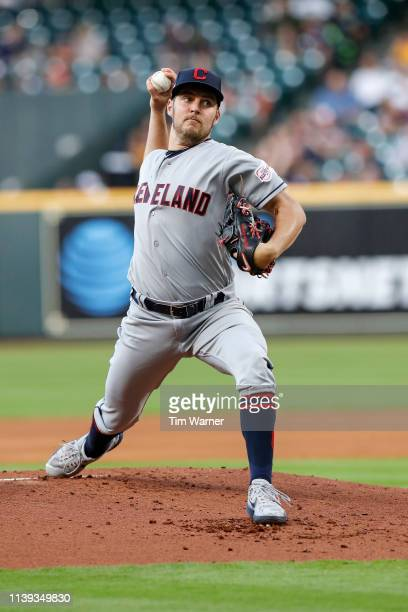 Starting pitcher Trevor Bauer of the Cleveland Indians pitches in the first inning against the Houston Astros at Minute Maid Park on April 25 2019 in...