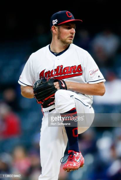 Starting pitcher Trevor Bauer of the Cleveland Indians pitches against the Atlanta Braves during the first inning of Game 2 of a doubleheader at...
