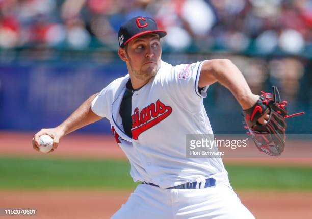 Starting pitcher Trevor Bauer of the Cleveland Indians pitches against the Kansas City Royals during the first inning at Progressive Field on June 26...