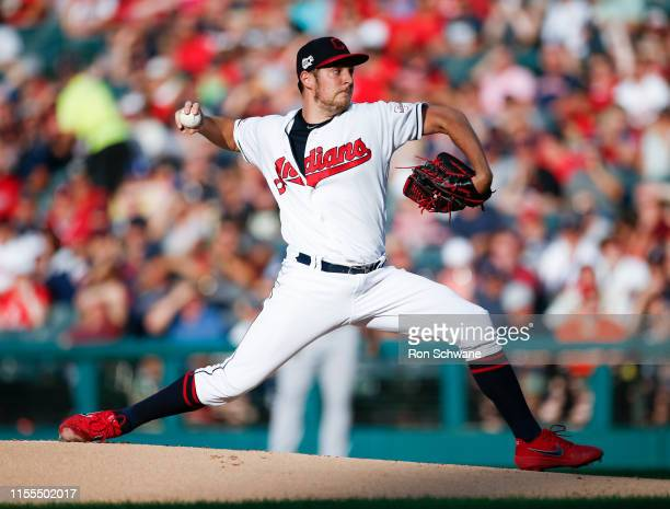 Starting pitcher Trevor Bauer of the Cleveland Indians pitches against the Minnesota Twins during the first inning at Progressive Field on July 13...