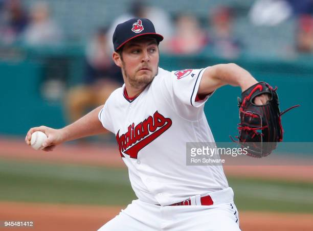 Starting pitcher Trevor Bauer of the Cleveland Indians pitches against the Detroit Tigers during the first inning at Progressive Field on April 12...