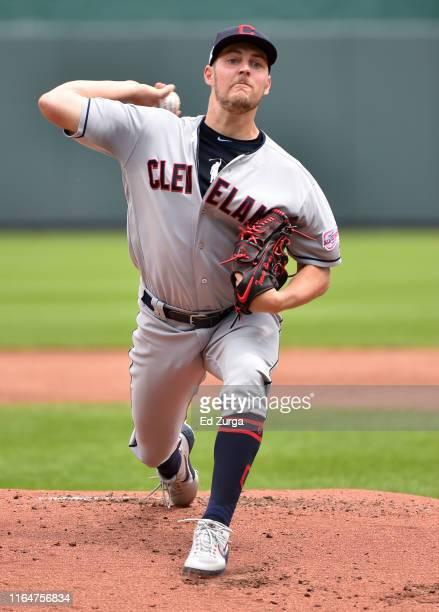 Starting pitcher Trevor Bauer of the Cleveland Indians throws in the first inning against Kansas City Royals at Kauffman Stadium on July 28 2019 in...