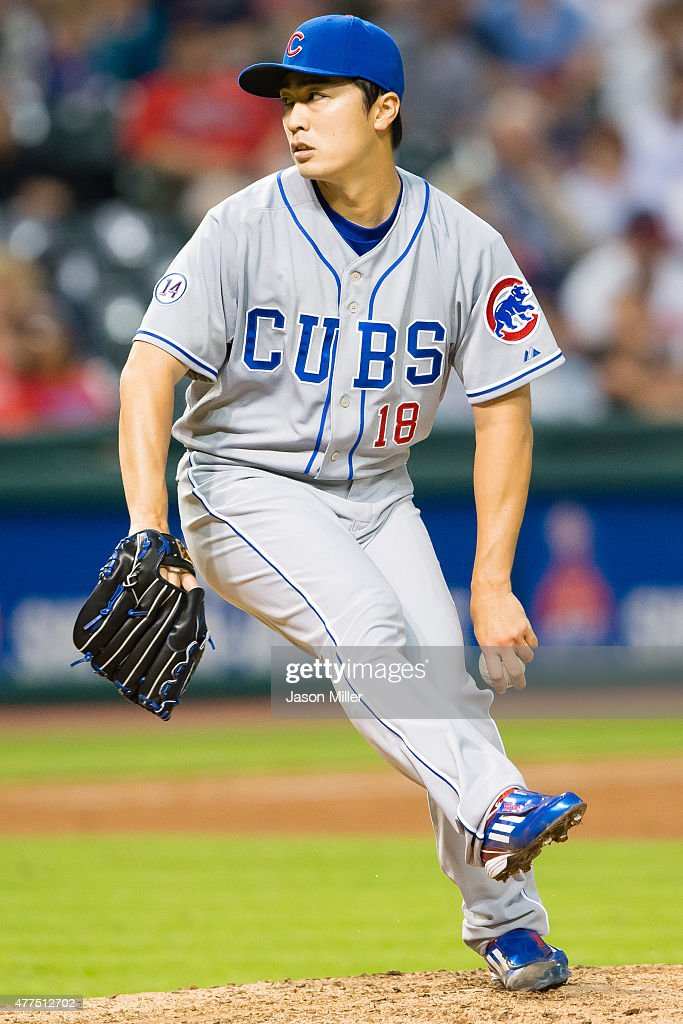 Starting pitcher Tsuyoshi Wada #18 of the Chicago Cubs pitches during the sixth inning against the Cleveland Indians at Progressive Field on June 17, 2015 in Cleveland, Ohio.