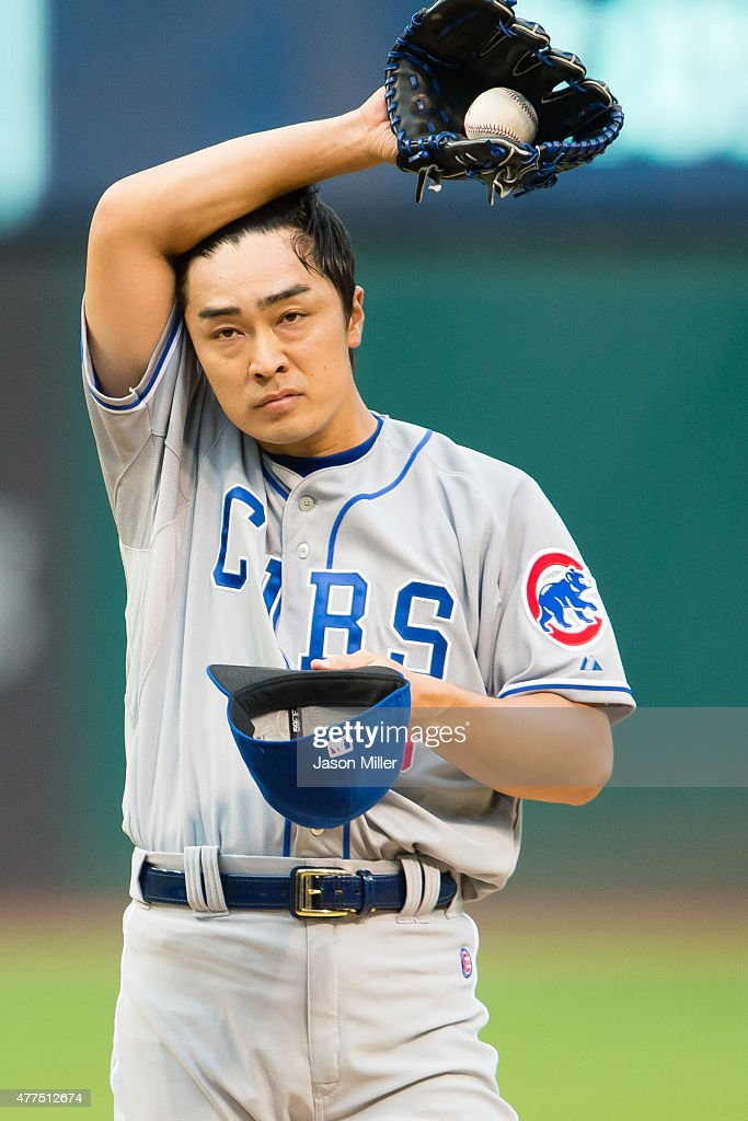 Starting pitcher Tsuyoshi Wada #18 of the Chicago Cubs reacts after giving up a hit during the first inning against the Cleveland Indians at Progressive Field on June 17, 2015 in Cleveland, Ohio.
