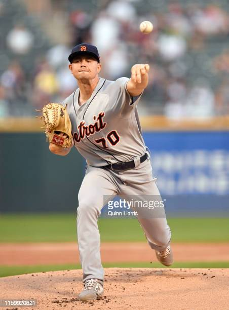 Starting pitcher Tyler Alexander of the Detroit Tigers delivers the ball in the first inning of his Major League debut against the Chicago White Sox...