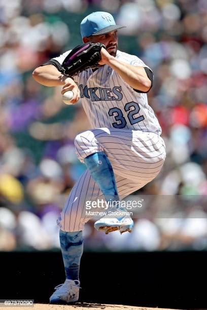 Starting pitcher Tyler Chatwood of the Colorado Rockies throws in the first inning against the San Francisco Giants at Coors Field on June 18 2017 in...