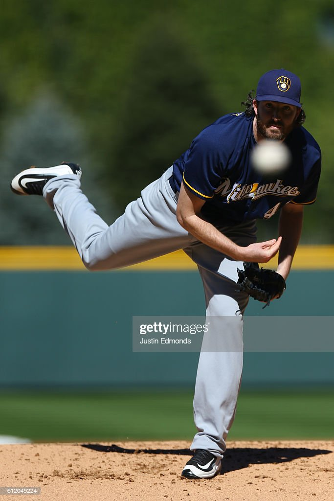 Starting pitcher Tyler Cravy #45 of the Milwaukee Brewers delivers to home plate during the first inning against the Colorado Rockies at Coors Field on October 2, 2016 in Denver, Colorado.