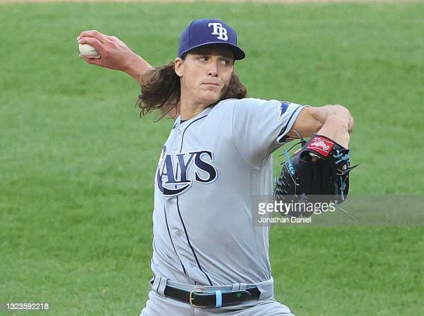 Starting pitcher Tyler Glasnow of the Tampa Bay Rays delivers the ball against the Chicago White Sox at Guaranteed Rate Field on June 14, 2021 in...