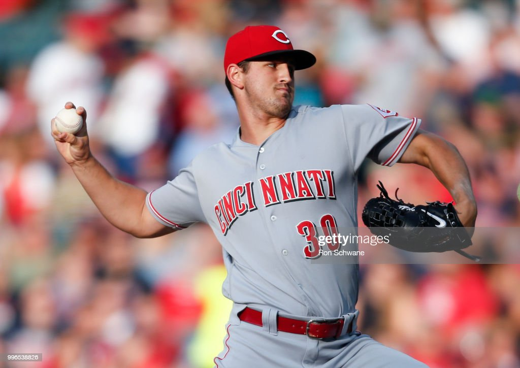 Starting pitcher Tyler Mahle #30 of the Cincinnati Reds pitches against the Cleveland Indians during the first inning at Progressive Field on July 11, 2018 in Cleveland, Ohio.