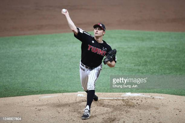 Starting pitcher Tyler Wilson of LG Twins throws in the bottom of the first inning during the KBO League game between LG Twins and Kiwoom Heroes at...