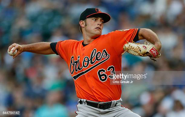 Starting pitcher Tyler Wilson of the Baltimore Orioles pitches against the Seattle Mariners in the third inning at Safeco Field on July 2, 2016 in...