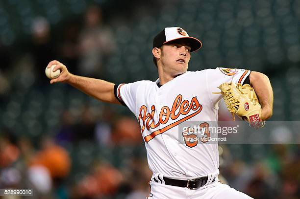Starting pitcher Tyler Wilson of the Baltimore Orioles throws a pitch to a New York Yankees batter in the first inning during a baseball game at...