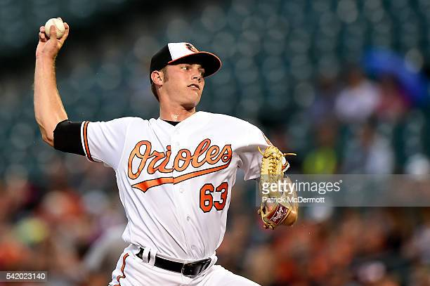 Starting pitcher Tyler Wilson of the Baltimore Orioles throws a pitch to a San Diego Padres batter in the first inning during a MLB baseball game at...