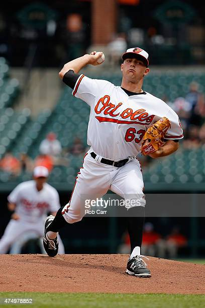 Starting pitcher Tyler Wilson of the Baltimore Orioles throws to a Chicago White Sox batter in the first inning during the first game of a double...
