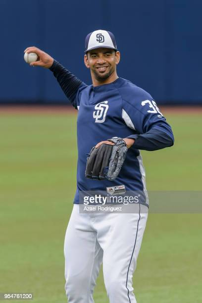 Starting pitcher Tyson Ross of San Diego Padres warms up prior the MLB game against Los Angeles Dodgers at Estadio de Beisbol Monterrey on May 4 2018...