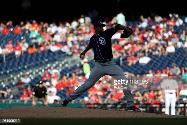 Starting pitcher Tyson Ross of the San Diego Padres throws to a Washington Nationals batter at Nationals Park on May 23 2018 in Washington DC