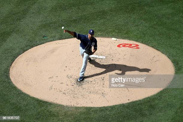 Starting pitcher Tyson Ross of the San Diego Padres throws to a Washington Nationals batter in the fourth inning at Nationals Park on May 23 2018 in...