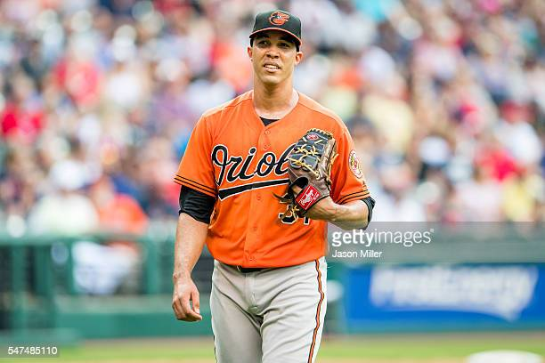 Starting pitcher Ubaldo Jimenez of the Baltimore Orioles leaves the game during the second inning against the Cleveland Indians at Progressive Field...