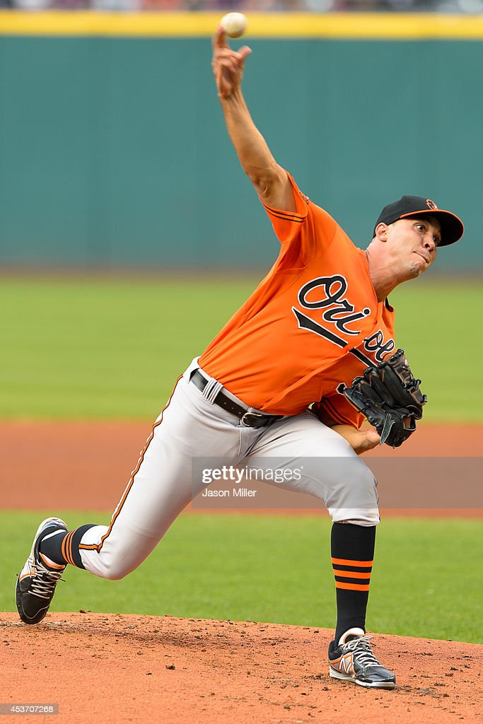 Starting pitcher Ubaldo Jimenez #31 of the Baltimore Orioles pitches during the first inning against the Cleveland Indians at Progressive Field on August 16, 2014 in Cleveland, Ohio.