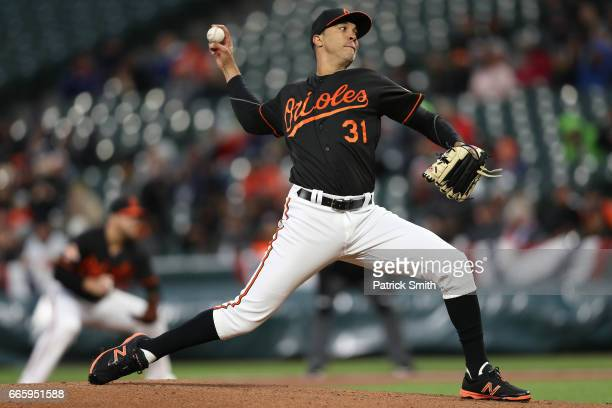 Starting pitcher Ubaldo Jimenez of the Baltimore Orioles works the first inning against the New York Yankees at Oriole Park at Camden Yards on April...