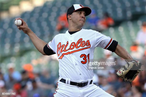 Starting pitcher Ubaldo Jimenez of the Baltimore Orioles works the first inning against the Kansas City Royals Oriole Park at Camden Yards on July 31...