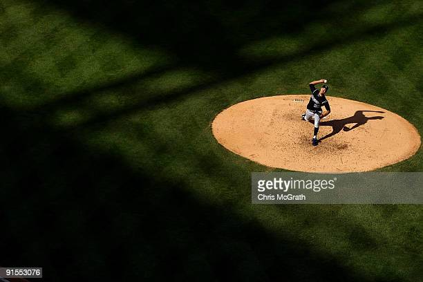 Starting pitcher Ubaldo Jimenez of the Colorado Rockies throws a pitch against the Philadelphia Phillies in Game One of the NLDS during the 2009 MLB...