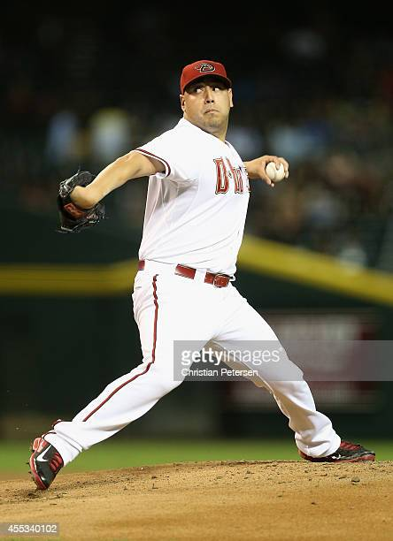 Starting pitcher Vidal Nuno of the Arizona Diamondbacks pitches against the San Diego Padres during the MLB game at Chase Field on September 12 2014...