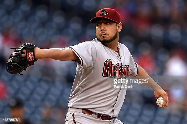 Starting pitcher Vidal Nuno of the Arizona Diamondbacks works the first inning against the Washington Nationals at Nationals Park on August 18 2014...