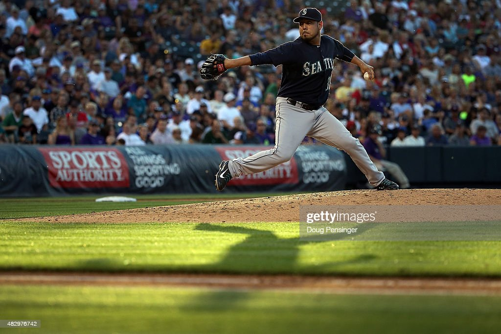 Starting pitcher Vidal Nuno #38 of the Seattle Mariners delivers against the Colorado Rockies during interleague play at Coors Field on August 4, 2015 in Denver, Colorado.