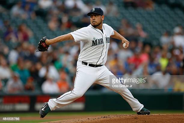 Starting pitcher Vidal Nuno of the Seattle Mariners pitches against the Baltimore Orioles at Safeco Field on August 10 2015 in Seattle Washington