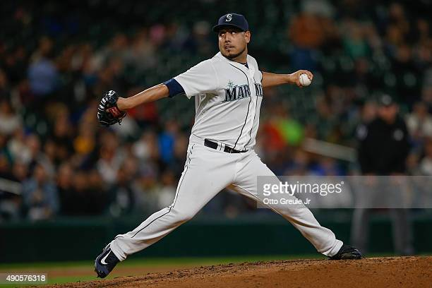 Starting pitcher Vidal Nuno of the Seattle Mariners pitches against the Houston Astros in the third inning at Safeco Field on September 29 2015 in...