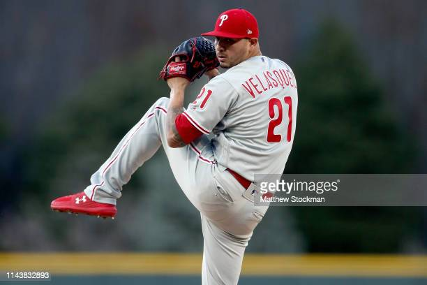 Starting pitcher Vince Velasquez of the Philadelphia Philies throws in the first inning against the Colorado Rockies at Coors Field on April 19, 2019...