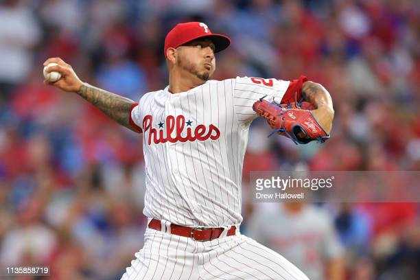 Starting pitcher Vince Velasquez of the Philadelphia Phillies delivers a pitch in the first inning against the Washington Nationals at Citizens Bank...