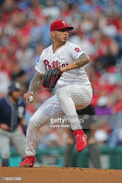 Starting pitcher Vince Velasquez of the Philadelphia Phillies delivers a pitch in the first inning during a game against the San Diego Padres at...