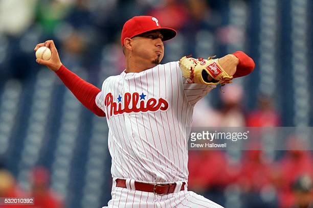 Starting pitcher Vince Velasquez of the Philadelphia Phillies delivers a pitch in the first inning against the Miami Marlins at Citizens Bank Park on...