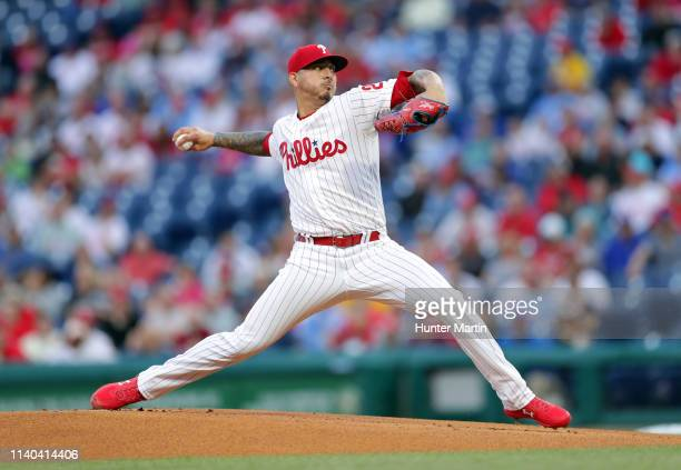 Starting pitcher Vince Velasquez of the Philadelphia Phillies throws a pitch in the first inning during a game against the Detroit Tigers at Citizens...