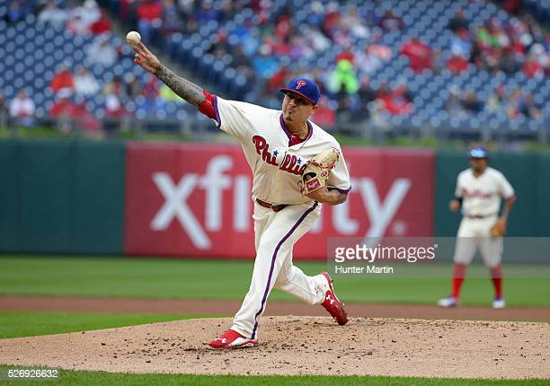 Starting pitcher Vince Velasquez of the Philadelphia Phillies throws a pitch in the second inning during a game against the Cleveland Indians at...