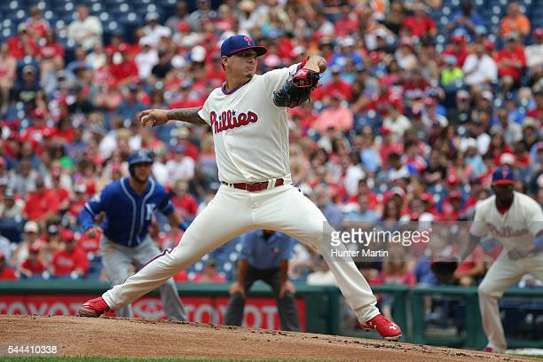 Starting pitcher Vince Velasquez of the Philadelphia Phillies throws a pitch in the first inning during a game against the Kansas City Royals at...