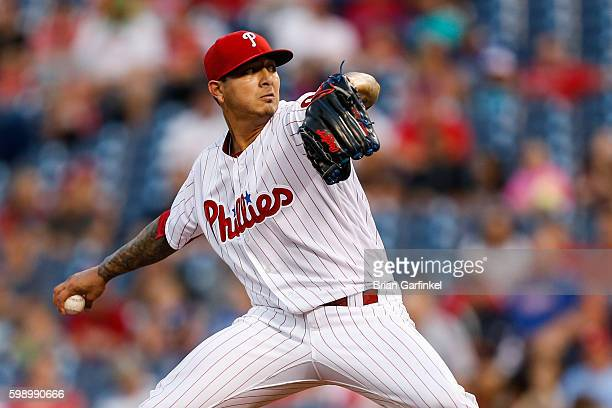 Starting Pitcher Vince Velasquez of the Philadelphia Phillies throws a pitch in the first inning of the game against the Atlanta Braves at Citizens...