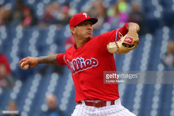 Starting pitcher Vince Velasquez of the Philadelphia Phillies throws a pitch in the first inning during a game against the Colorado Rockies at...