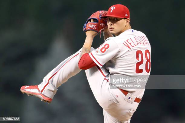 Starting pitcher Vince Velasquez of the Philadelphia Phillies throws in the first inning against the Colorado Rockies at Coors Field on August 4 2017...